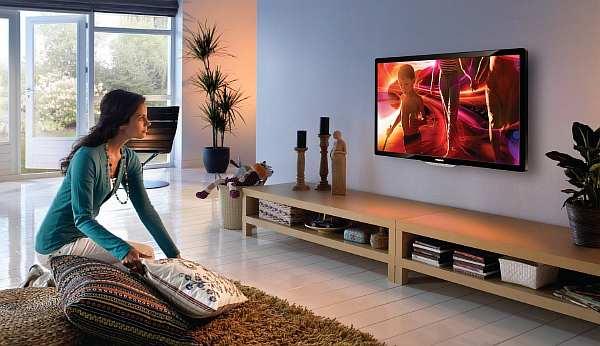Расстояние от пола до телевизора на стене