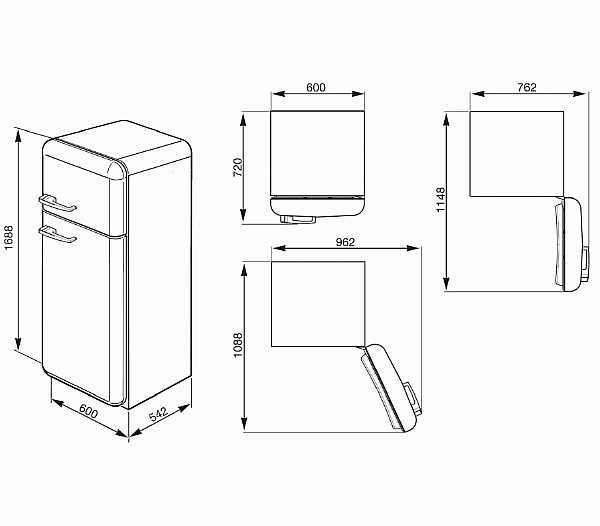Размер холодильника от пола