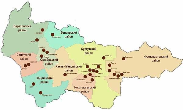 Расположение городов